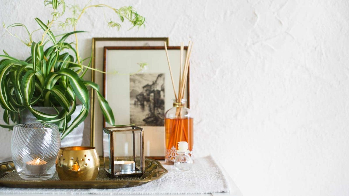 Candles and a scent diffuser on a small table in front of a plant and some framed art.