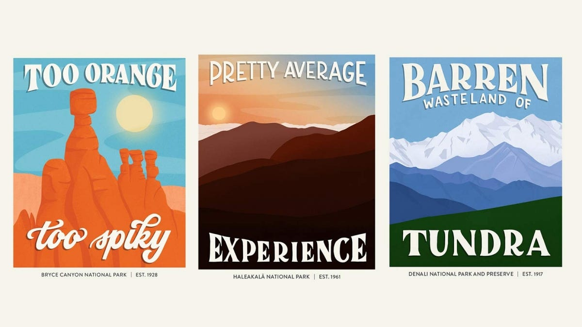 Examples of parody travel posters made by Subpar Parks.