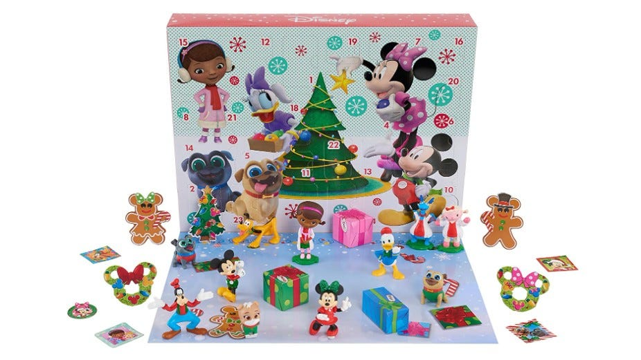 The Disney Junior Advent Calendar box and pieces.