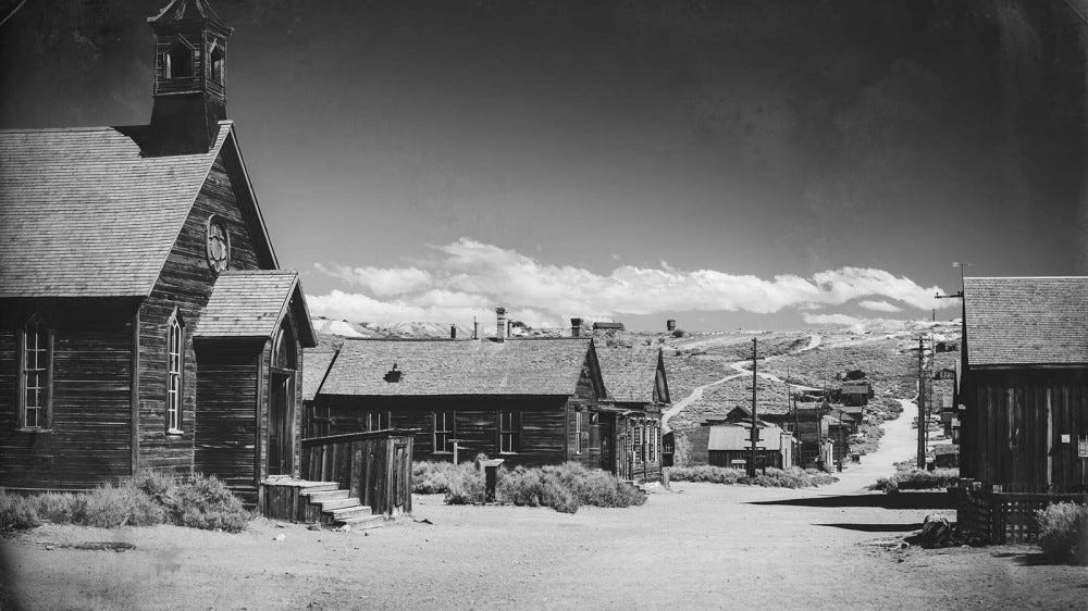 An abandoned mining town in the California.