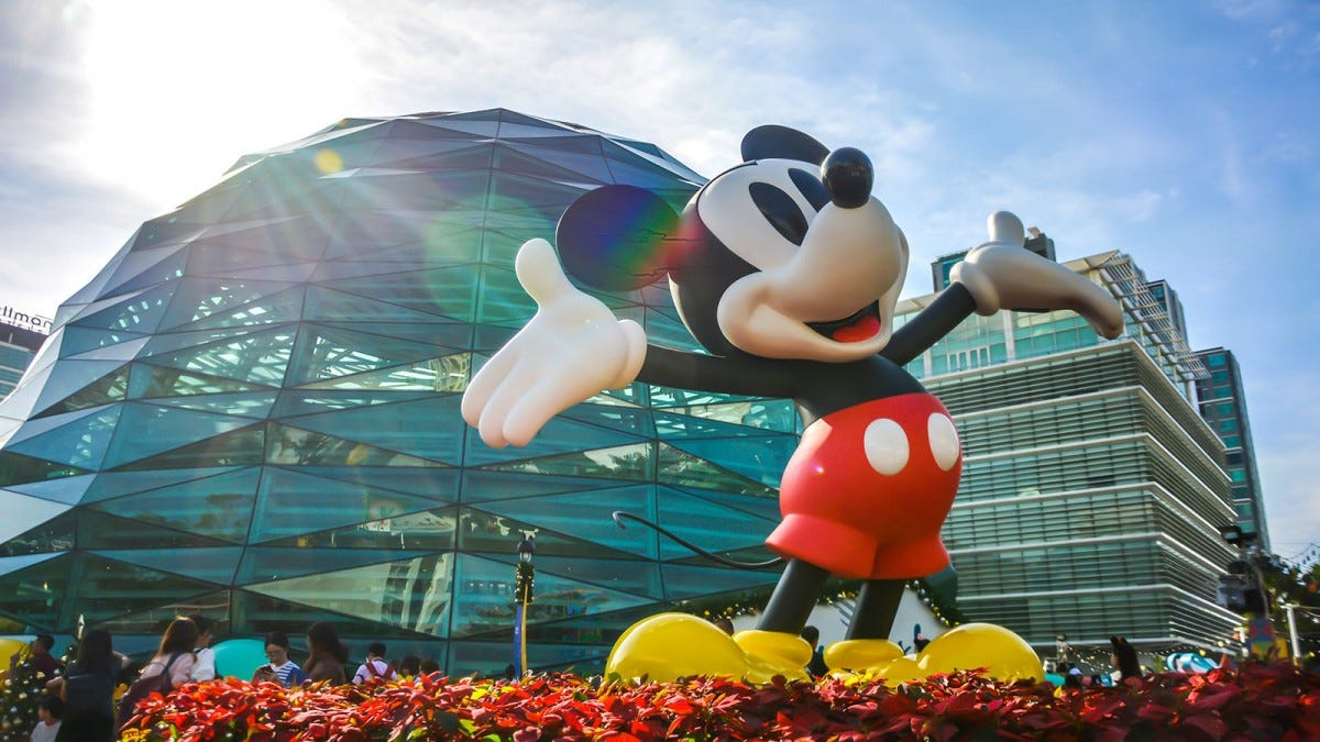 A happy Mickey Mouse statue standing in front of a glass dome.