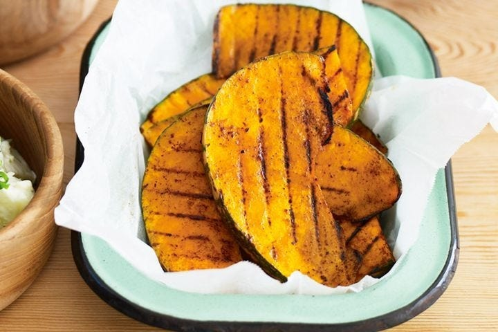 A few slices of grilled pumpkin