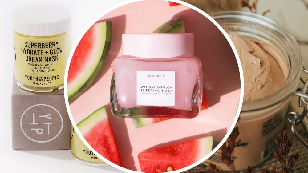 A jar of yellow cream sitting on a brown box, a jar of pink gel surrounded by watermelon slices, a jar of brown clay