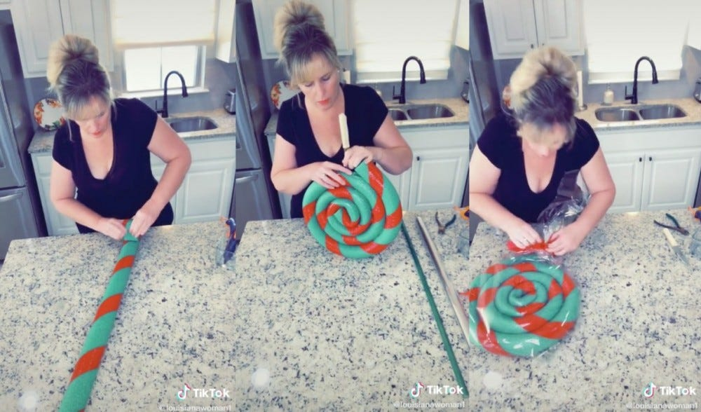 A series of photos shows a woman creating a lollipop decoration from pool noodles.