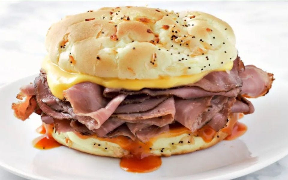 A copycat version of the Arby's beef and cheddar sandwich.