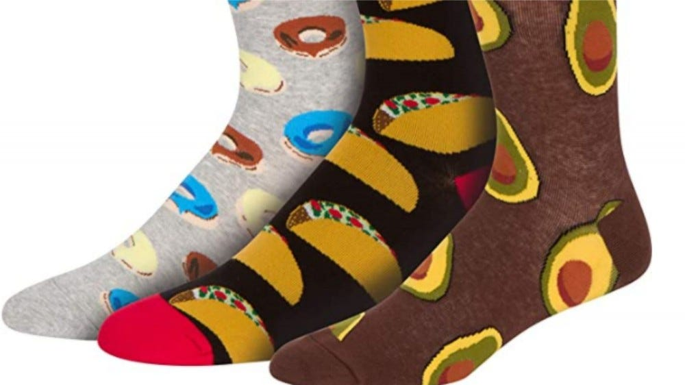 Fun adult socks with food designs on them
