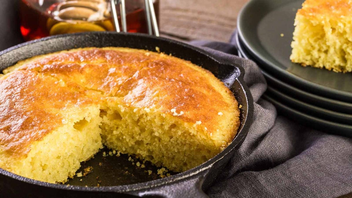 delicious fresh cornbread, baked in a deep cast iron skillet