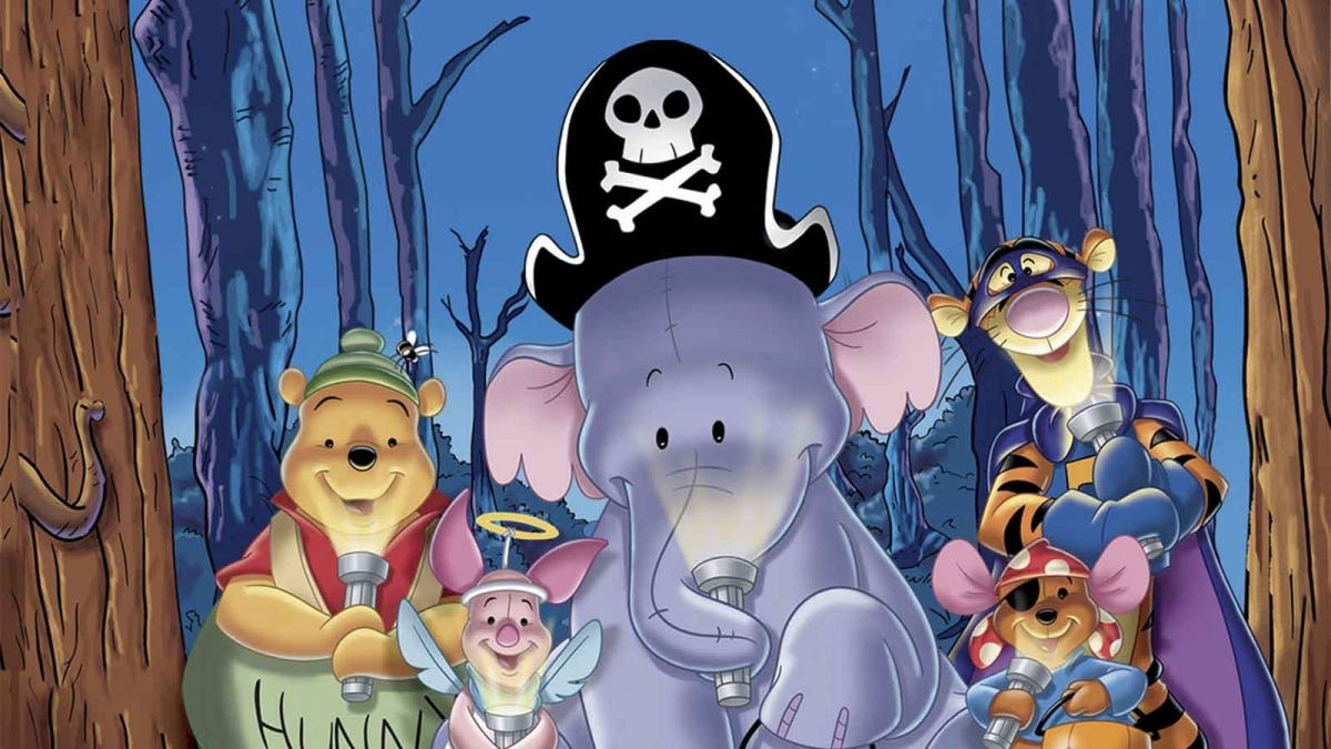 Winnie the Pooh, Piglet, a Heffalump, Roo, and Tigger dressed as pirates.