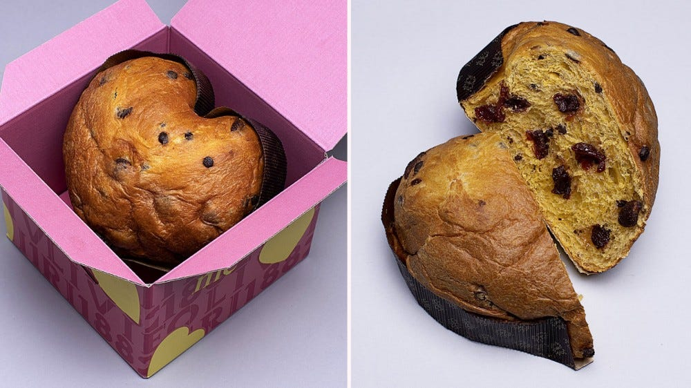 heart shaped panettone cake