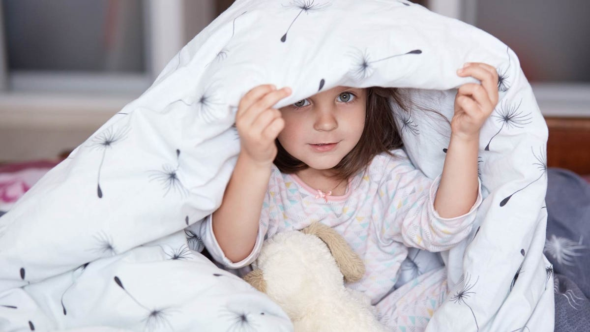 A little girl wearing pajamas, holding a stuffed animal, with a comforter over her head.