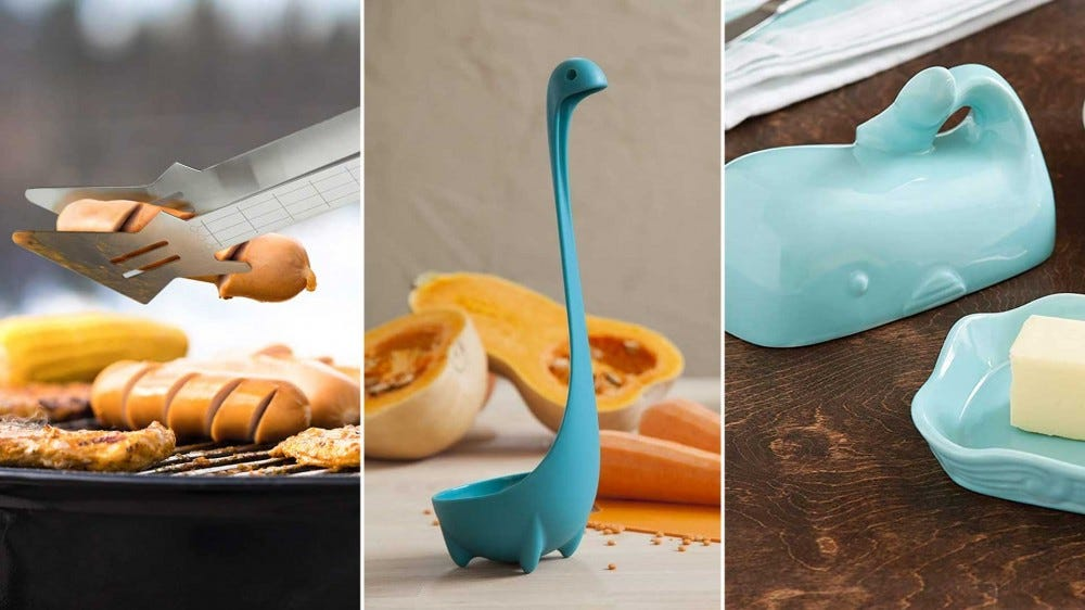 Three whimsical food-related gifts, left to right: guitar tongs, a Lochness monster ladle, and a butter whale.