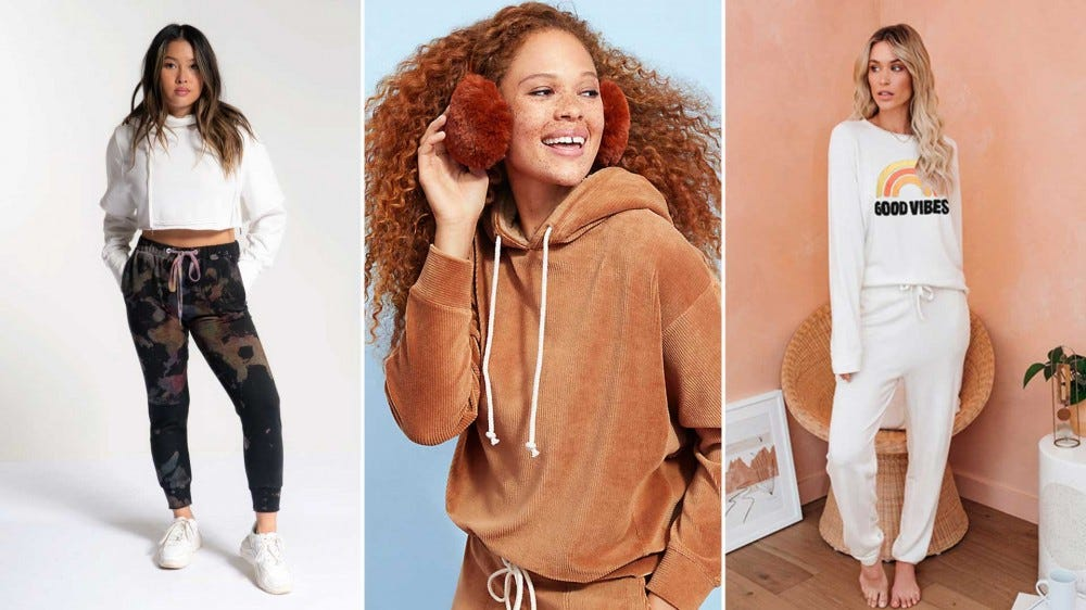 Examples of comfy and cozy sweat suit sets.