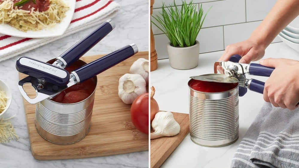 Two images side by side;  The object of a KitchenAid can opening is placed directly on an open can of tomatoes and the right image is of a woman opening a can with the same can opener.