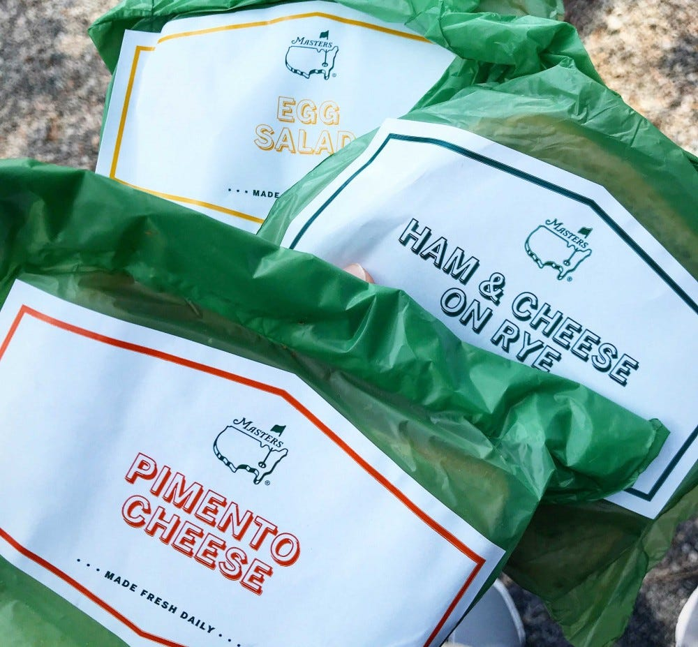 Examples of the different kinds of sandwiches available at the Masters Tournament.
