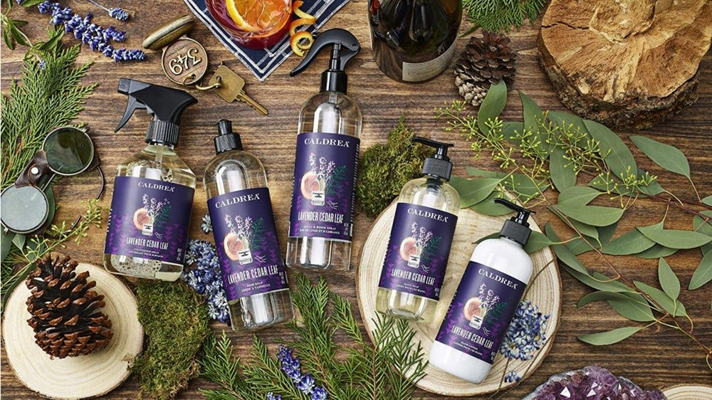 The Caldrea Lavender and Cedar Leaf Line of products surrounded by herbs and leaves.