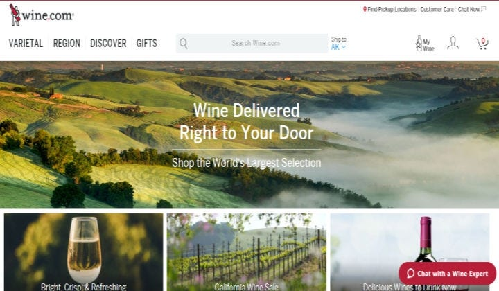Homepage for wine.com displaying that they are the largest selection of wine in the world.