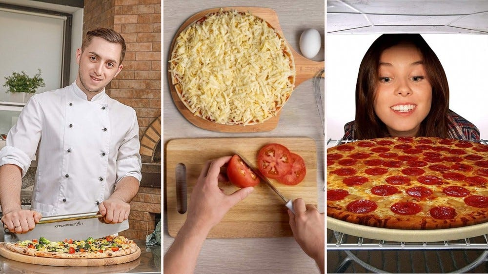 Chef cutting pizza with a rocker, hands cutting tomatoes on cutting board, woman peering at pizza on a stone baking in a oven.
