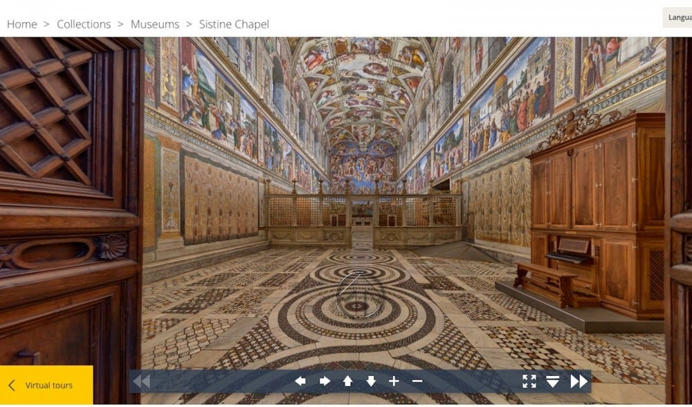 The entrance to the Sistine Chapel via a virtual tour.