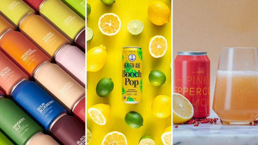 Colorful canned drinks, from various soft drink makers in small batches.