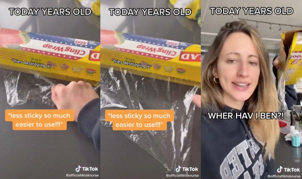 Three photos show a woman demonstrating what happens when you put plastic wrap in the freezer.