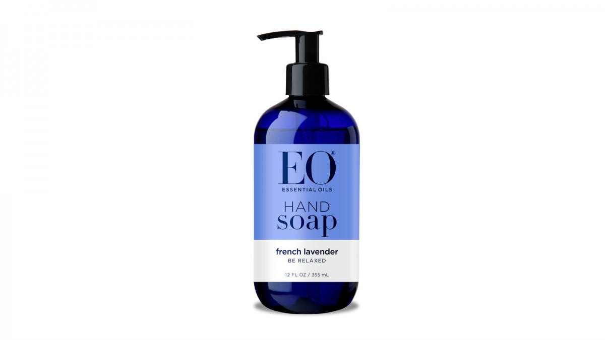 A pump bottle of EO Essential Oils Hand Soap.