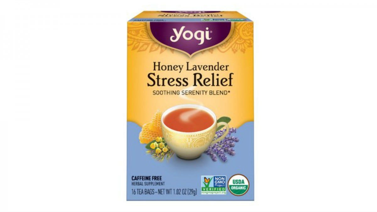 A box of Yogi Honey Lavender Stress Relief Tea.