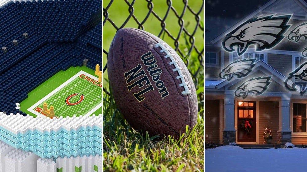 از چپ به راست: یک مدل از یک استادیوم از یک بلوک ساختمان ، فوتبال رسمی از NFL و یک پروژکتور برای روشنایی با آرم تیم.