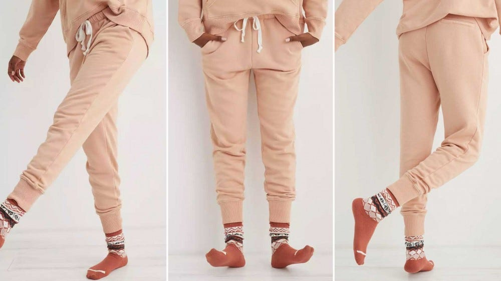 The Aerie Weekend Jogger in a light 'Natural Nude' color tone.
