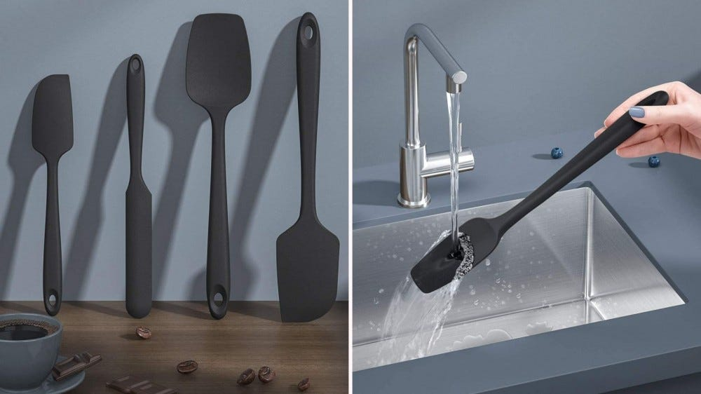 Two images: The left image is of the set of four U-taste spatulas placed up against the wall and the right image is of someone holding a spatula under the faucet of running water.