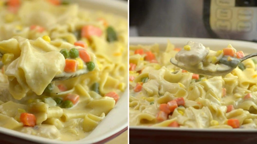 Two images placed side by side, showing chicken pot pie casserole.
