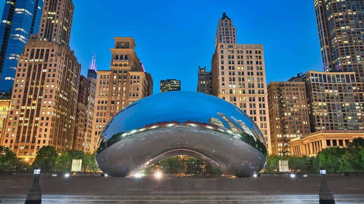 "The ""Bean"" sculpture in Chicago, seen at twilight and with no crowds"