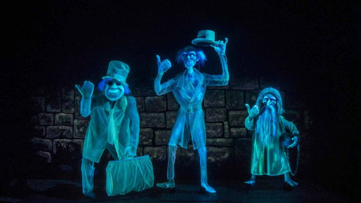 Hitchhiking ghosts, an example of Disney's use of the Pepper's Ghost illusion