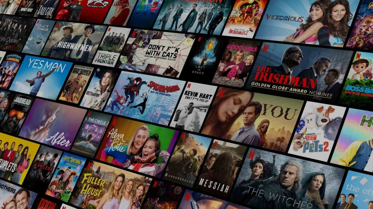 A bunch of movie and TV Show thumbnails on Netflix.