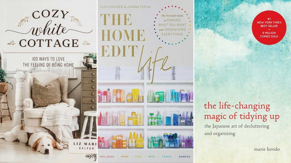 The covers of 'Cozy White Cottage', 'The Home Edit Life' and 'The Life-Changing Magic of Tidying Up'.
