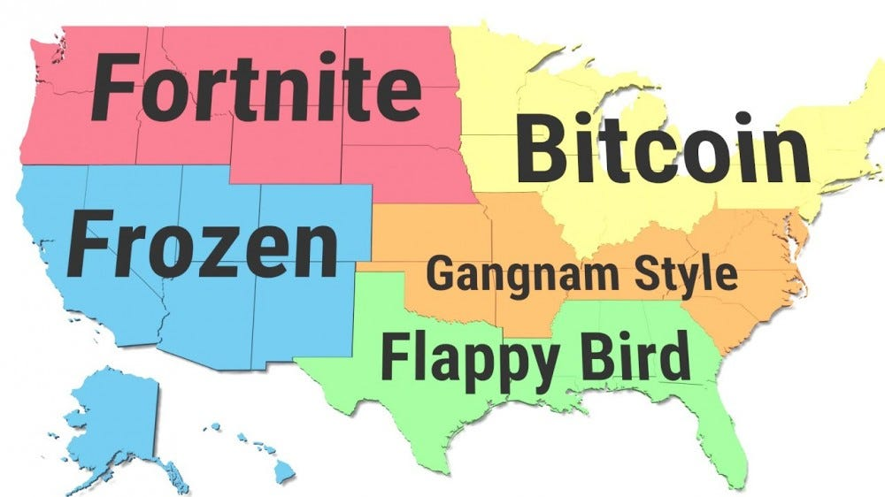 "A map of the United States showing popular 2010s-era search trend trends like ""Bitcoin"" and ""Flappy Bird""."