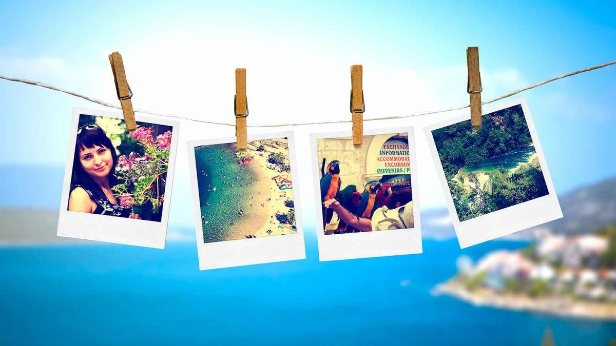 snapshot photos strung on a clothesline, show elements of an island vacation