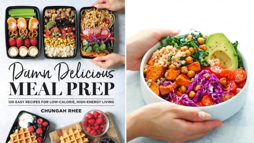 """The """"Damn Delicious Meal Prep"""" cookbook cover and someone holding a bowl of salad."""