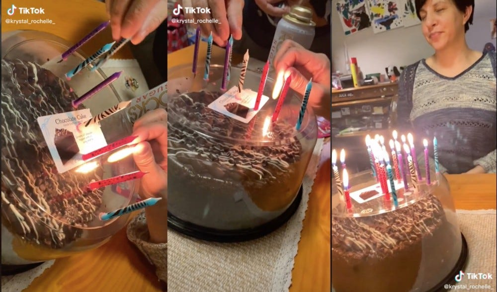 Three images showing how to prevent germs from getting on a birthday cake when you blow out candles.