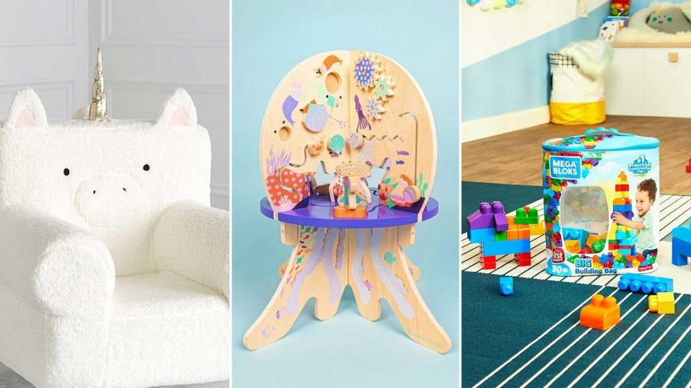 From left to right: an adorable unicorn chair, a wooden activity center, and a pile of building blocks.