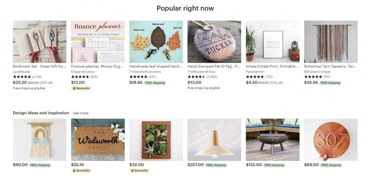 "The ""Popular right now"" listing on Etsy."