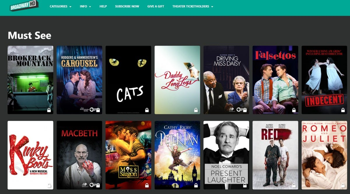 """Screenshot of the BroadwayHD interface, showing a selection of """"Must See"""" plays."""