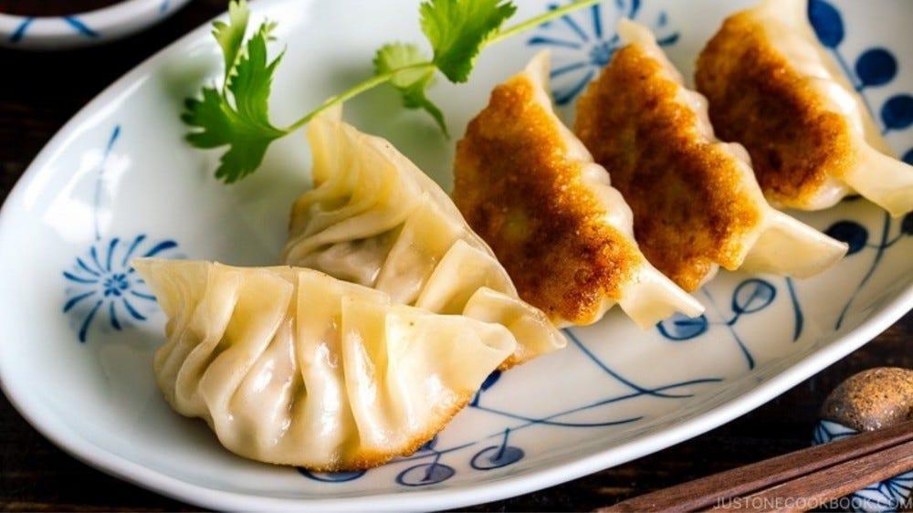 plate of Japanese gyoza
