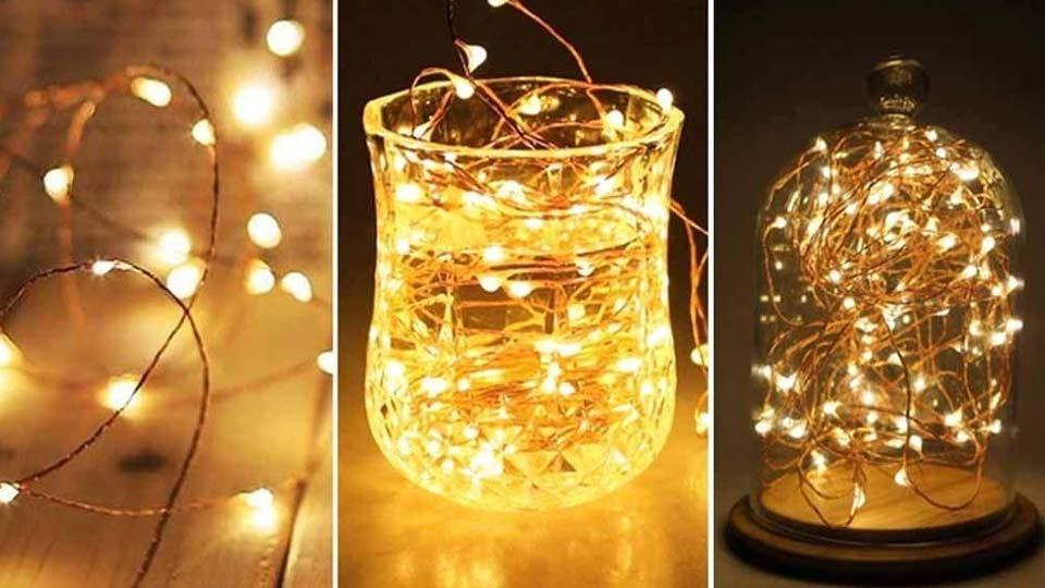 Fairy lights arranged in three different ways.