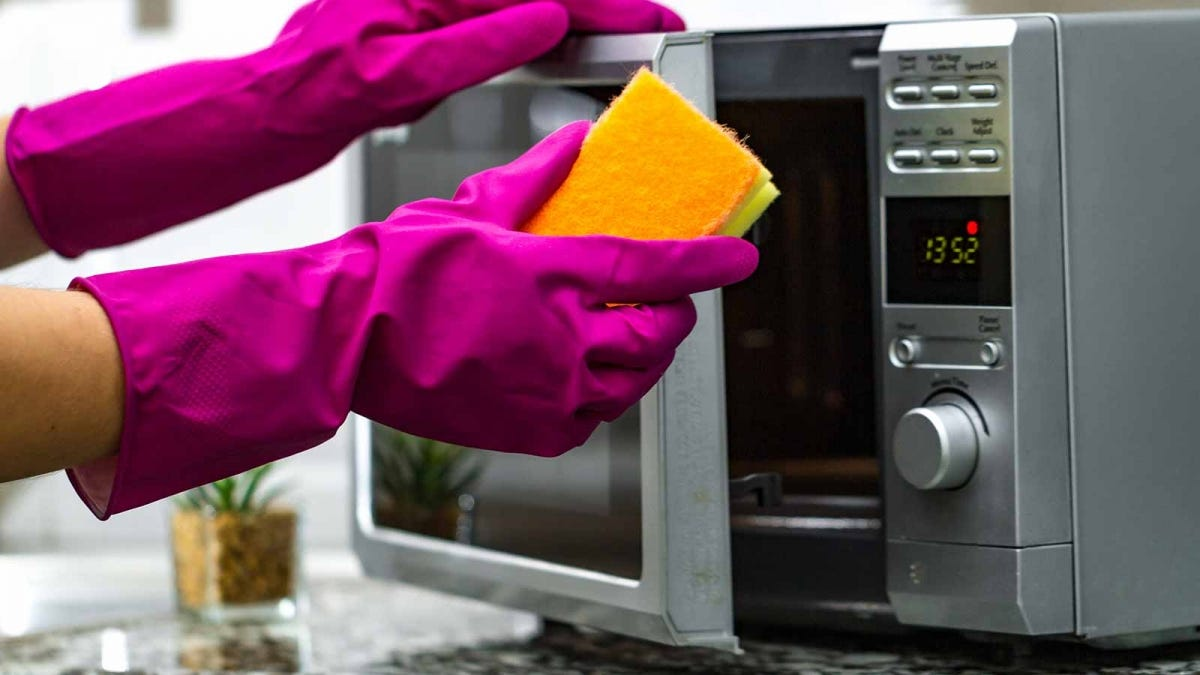 a pair of hands clad in purple dish gloves wiping down the front of a microwave
