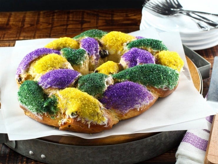 A King Cake on a serving platter.