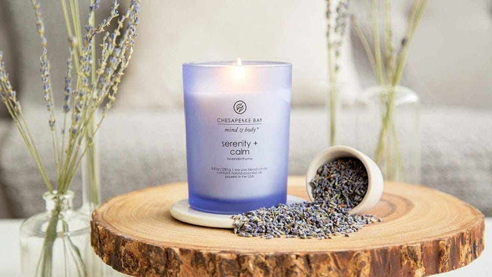 The Mind and Body Serenity + Calm candle surrounded by sprigs and leaves of dried lavender.