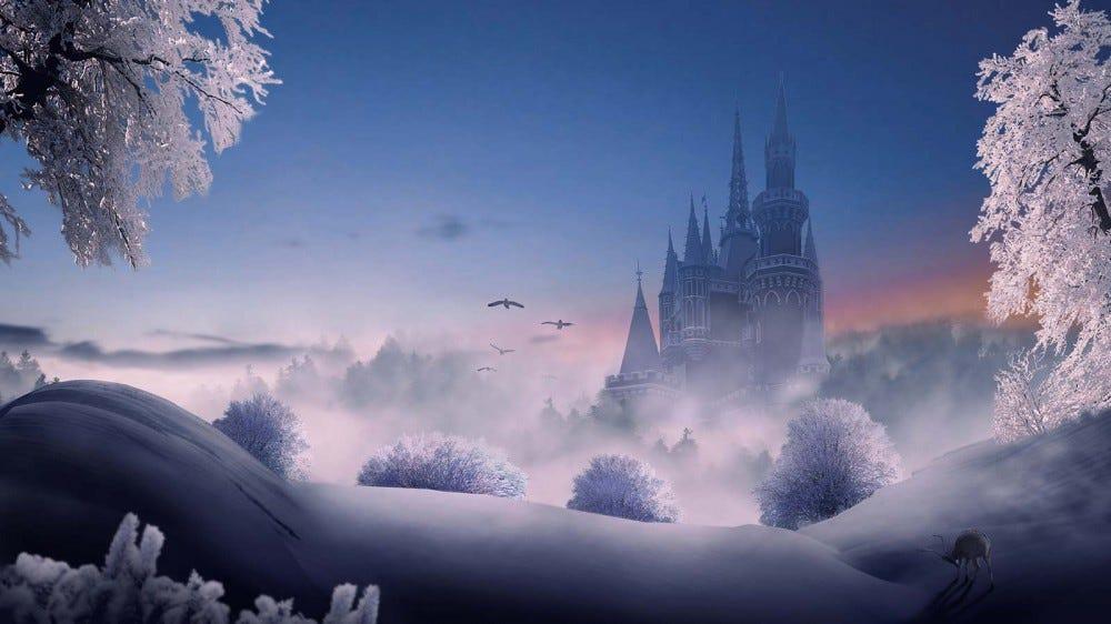 A majestic castle, seen in the distance across a snowy field.