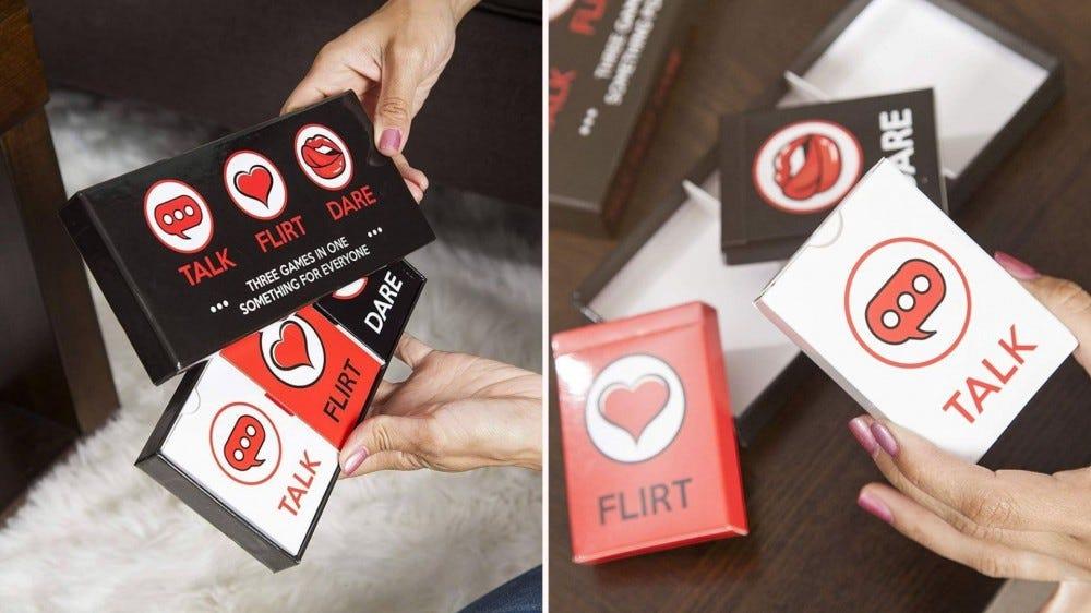"Photos of the card game ""Talk, Flirt, Dare!"""
