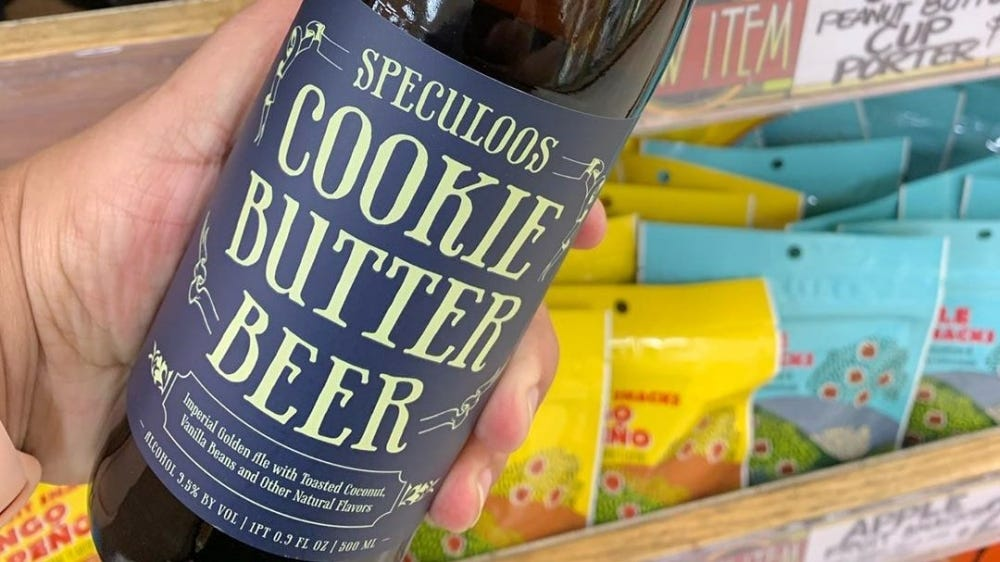 A bottle of Trader Joe's Cookie Butter Beer.