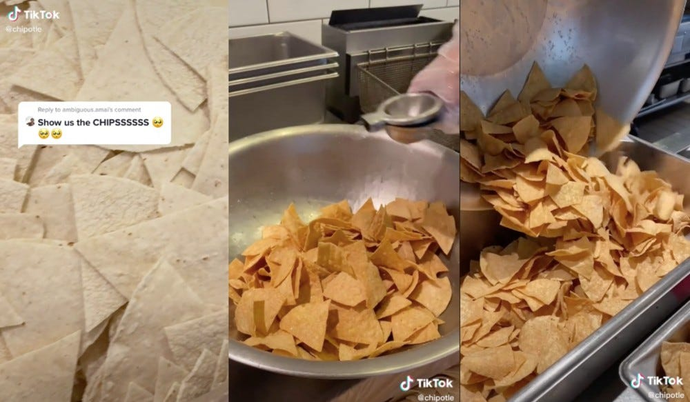 Three steps of tortilla chips being prepared at Chipotle.